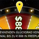 Weitere Informationen zuJetzt im 888 Casino das brennende Glücksrad drehen und bis zu 888 Euro gewinnen/