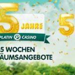 Weitere Informationen zuPlatin Casino wird 5 Jahre alt und beschert seine Kunden mit 5€-Gutscheinen/Platin Casino